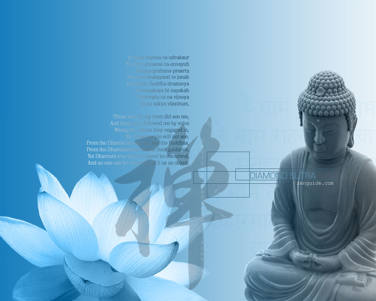 Blue Lotus Buddha Diamond Sutra Quote Buddha On The Wall